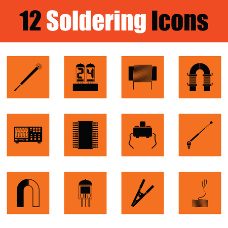 soldering: Set of twelve soldering  icons. Orange design. Vector illustration.