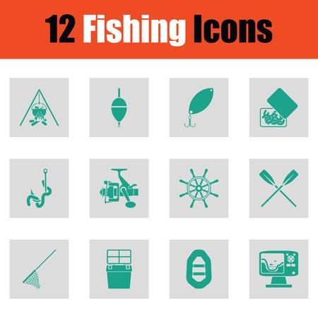 tackle box: Fishing icon set. Green on gray design. Vector illustration. Illustration