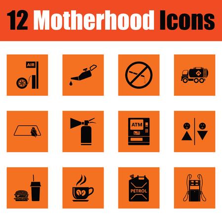 child care: Motherhood icon set. Orange design. Vector illustration.