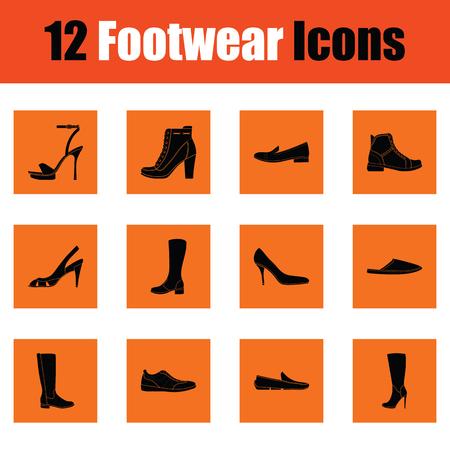 Set of footwear icons. Orange design. Vector illustration.