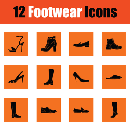 Set of footwear icons. Orange design. Vector illustration.