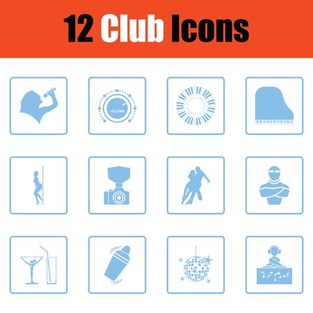 Club icon set. Blue frame design. Vector illustration. Ilustrace