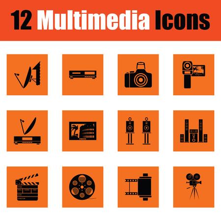 Set of multimedia icons. Orange design. Vector illustration.
