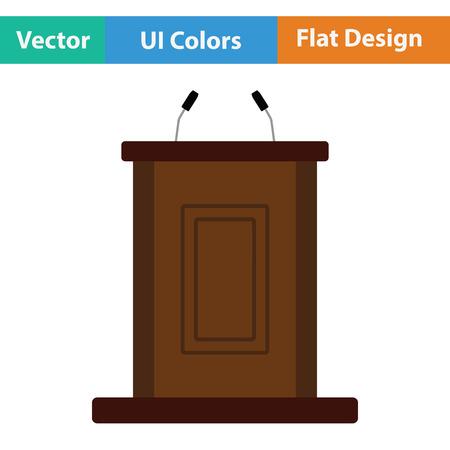 Icona di stand della testimonianza. Disegno a colori piatto. Illustrazione vettoriale. Archivio Fotografico - 80772804