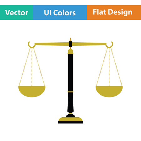 acquit: Justice scale icon. Flat color design. Vector illustration.