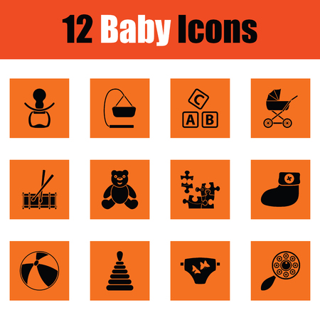horse care: Set of baby icons. Orange design. Vector illustration.