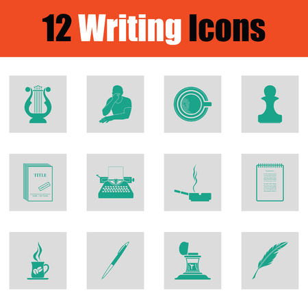 review: Set of Writing icons. Green on gray design. Vector illustration.