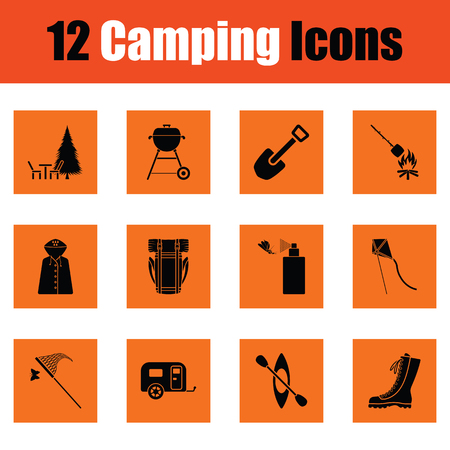 Camping icon set. Orange design. Vector illustration.