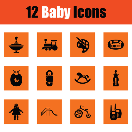 bootees: Set of baby icons. Orange design. Vector illustration.