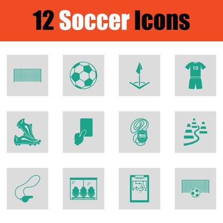 Set of soccer icons. Green on gray design. Vector illustration.