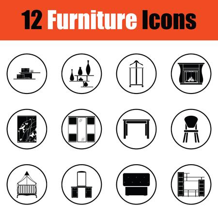 round chairs: Home furniture icon set. Thin circle design. Vector illustration. Illustration