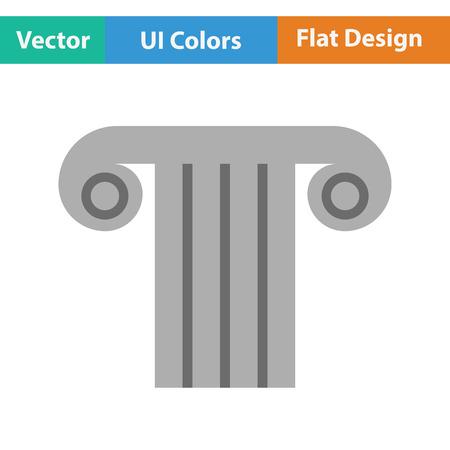 justice scale: Antique column icon. Flat color design. Vector illustration. Illustration