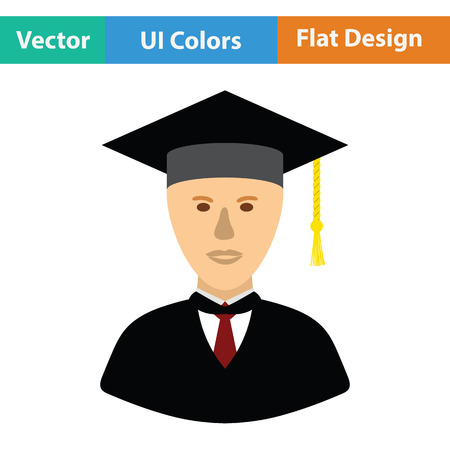 Lawyer man icon. Flat color design. Vector illustration.