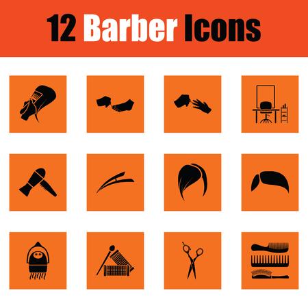 Barber icon set. Orange design. Vector illustration.
