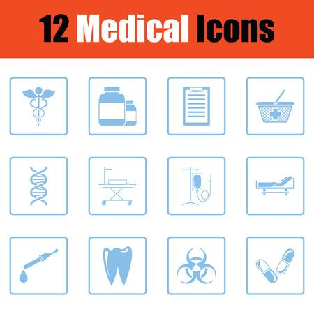 biohazard: Medical icon set. Blue frame design. Vector illustration. Illustration