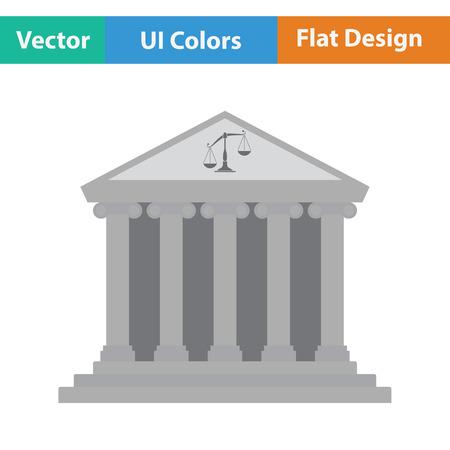 roman column: Courthouse icon. Flat color design. Vector illustration.