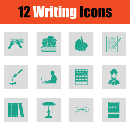 Set of Writing icons. Green on gray design. Vector illustration.