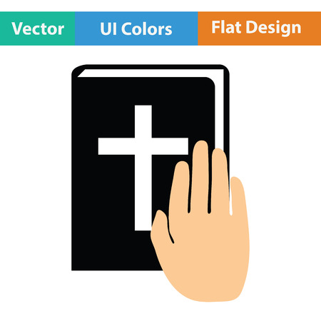 oath: Hand on Bible icon. Flat color design. Vector illustration.