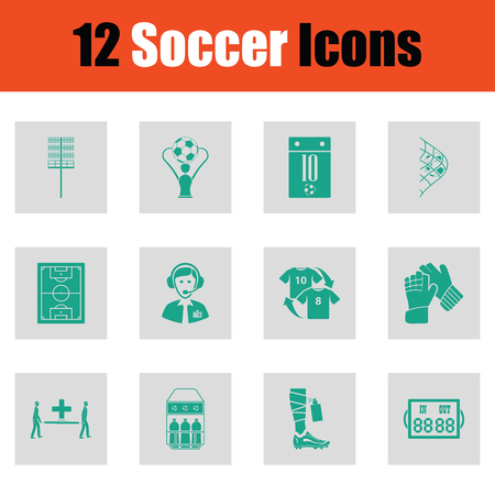 flag: Set of soccer icons. Green on gray design. Vector illustration.