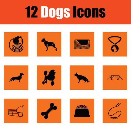 Dogs icon set. Orange design. Vector illustration. Illustration