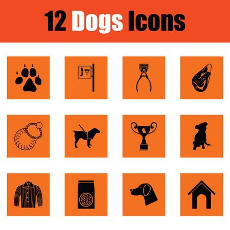 shearer: Dogs icon set. Orange design. Vector illustration. Illustration