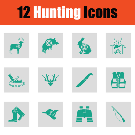 Set of hunting icons. Green on gray design. Vector illustration.