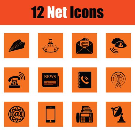 tv tower: Communication icon set. Orange design. Vector illustration.