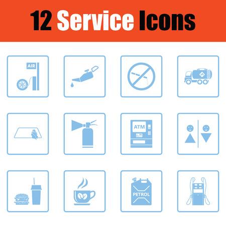 Set van twaalf pictogrammen van het benzinestation. Blauw frame ontwerp. Vector illustratie. Vector Illustratie