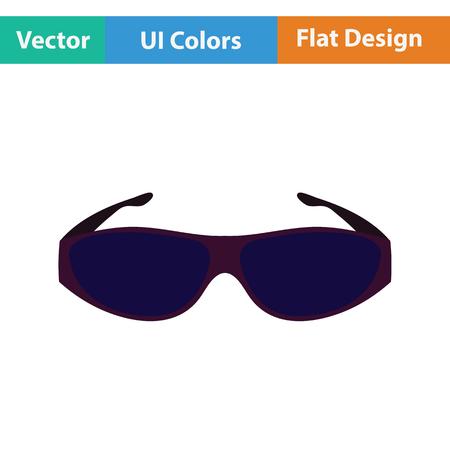 protective eyewear: Poker sunglasses icon. Flat color design. Vector illustration.