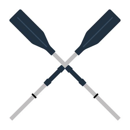 Icon of  boat oars. Flat color design. Vector illustration.