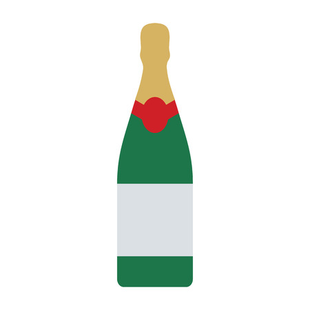 Party champagne and glass icon. Flat color design. Vector illustration.