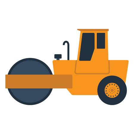 Icon of road roller. Flat color design. Vector illustration.