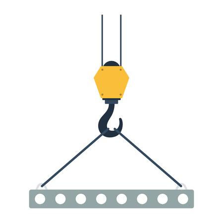 Icône de dalle pendu sur le crochet de la grue par des élingues de corde. Conception de couleur plat. Illustration vectorielle Banque d'images - 93413625