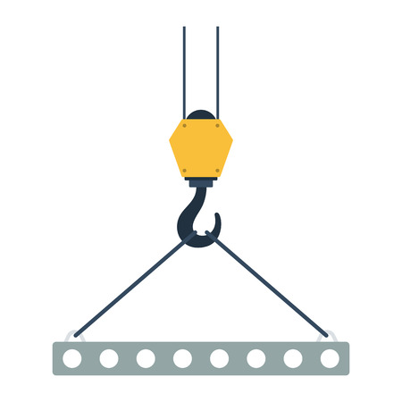 Icon of slab hanged on crane hook by rope slings . Flat color design. Vector illustration.