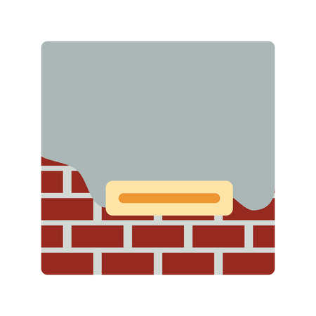 Icon of plastered brick wall. Flat color design. Vector illustration.