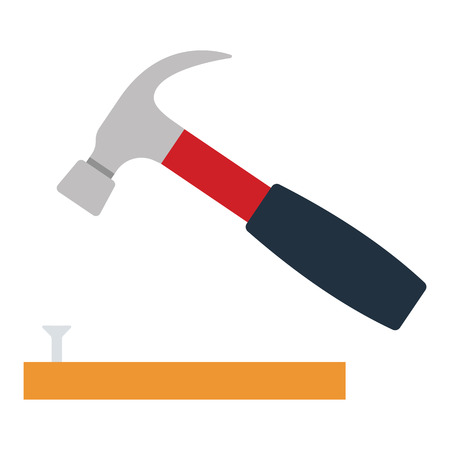 Icon of hammer beat to nail. Flat color design. Vector illustration.