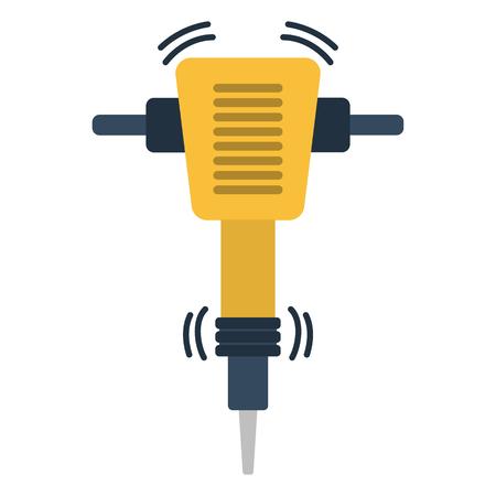 Icon of construction jackhammer. Flat color design. Vector illustration.