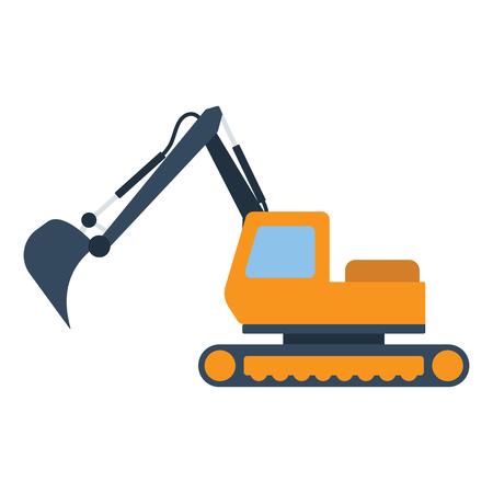 Icon of construction excavator. Flat color design. Vector illustration.