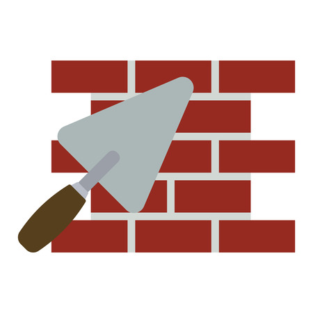 Icon of brick wall with trowel. Flat color design. Vector illustration.
