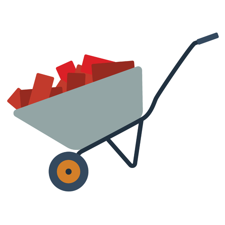 Icon of construction cart. Flat color design. Vector illustration. Illustration