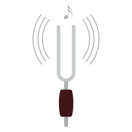 Tuning fork icon. Flat color design illustration.