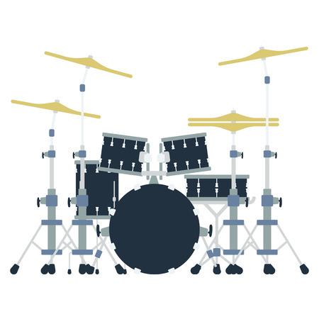 Drum set icon. Flat color design illustration.