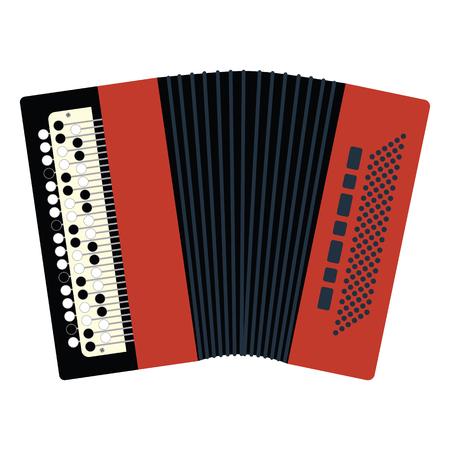 Accordion icon. Flat color design illustration.