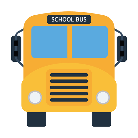 School bus icon. Flat color design. Vector illustration.
