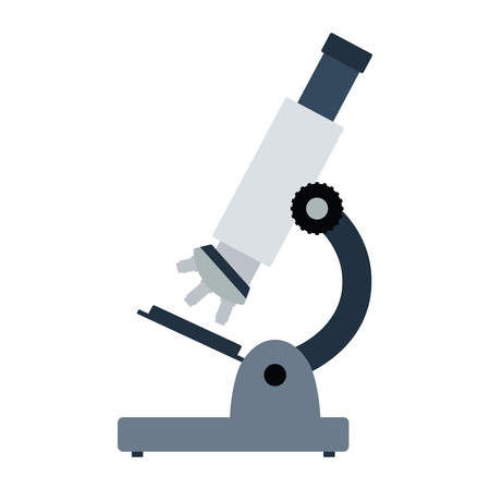 School microscope icon. Flat color design. Vector illustration. Vectores