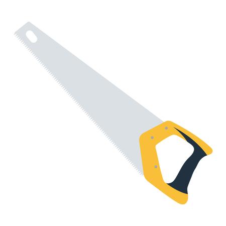 Hand saw icon. Flat color design. Vector illustration.