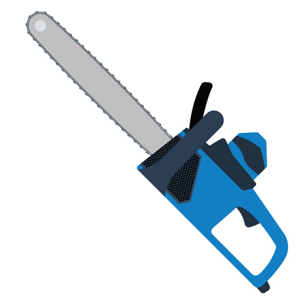 Chain saw icon. Flat color design. Vector illustration.
