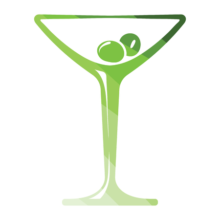 Cocktail glass icon. Flat color design. Vector illustration.