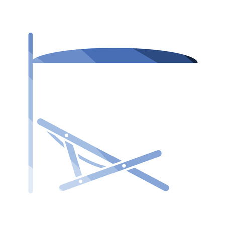 Sea beach recliner with umbrella icon. Flat color design. Vector illustration.