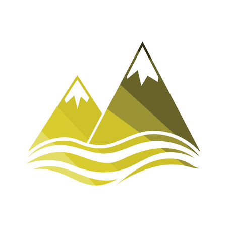 Snow peaks cliff on sea icon. Flat color design. Vector illustration. Çizim